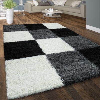 Hoogpolig vloerkleed Dorin 910 kleur grijs zwart