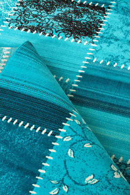 Retro vloerkleed Romantic 3830 Turquoise