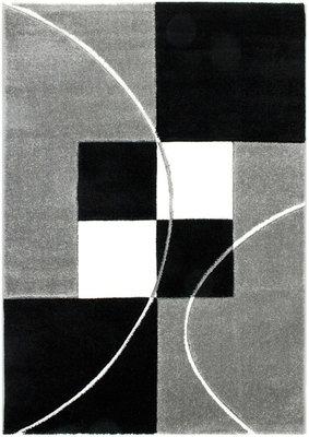 Zwart wit geruit vloerkleed Fleur 8001