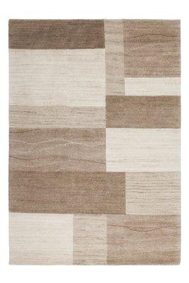 Beige handgeknoopte wollen tapijten en vloerkleden Flores