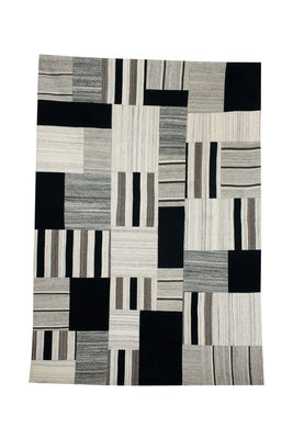 Wollen patchwork vloerkleed Intrio 310 kleur Grijs Multi