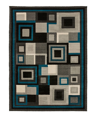 Action vloerkleed kleur zwart blauw 3222
