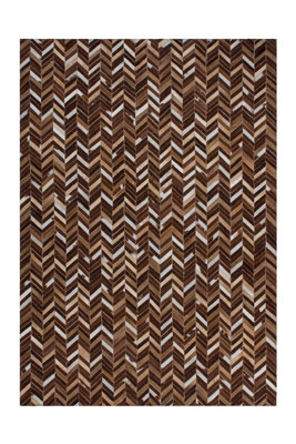 Leren vloerkleed Patch 852 kleur Beige